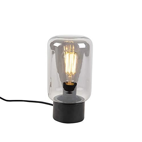 QAZQA Modern Design schwarz mit Rauchglas Tischlampe - Bliss Cute/Innenbeleuchtung/Wohnzimmerlampe/Schlafzimmer/Stahl Zylinder/Rund LED geeignet E27 Max. 1 x 60 Watt