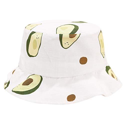 Planuuik Japanse frisse stijl volwassenen kinderen zomer katoen emmer hoed leuke gekleurde avocado vruchten bedrukt breedte rand zonwering visherman cap