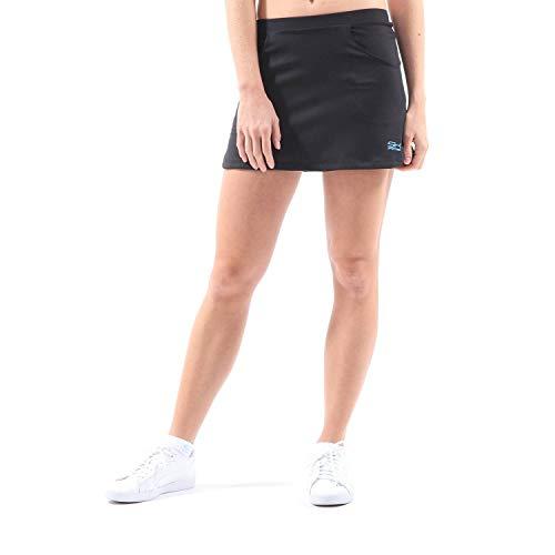 Sportkind Mädchen & Damen Classic Tennis, Hockey, Golf Skort, Rock mit Taschen & Innenhose, atmungsaktiv, UV-Schutz, schwarz, Gr. 158