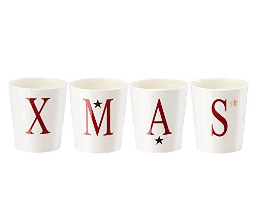 Hutschenreuther Merry Christmas Nordic Red Set de 4 Bougies de Table en Porcelaine/Ø 7/Hauteur 8 cm 4, Rouge, 14 x 14 x 8 cm, 4 unités de