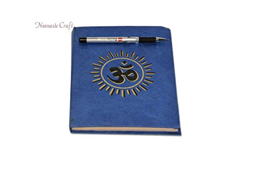 Nepali Notebook of Handmade Lokta Paper with OM printed on cover. Made in Nepal. (21 x 15.5 cm) (NB13)