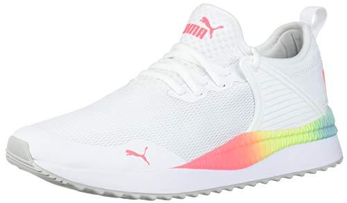 PUMA Women#039s Pacer Next Cage Sneaker WhitePink AlertYellow Alert 85 M US