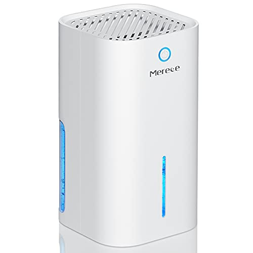 Merece Dehumidifiers for Home Damp - Upgraded Full Auto-off Electric Small Dehumidifiers for Home Room Bathroom Bedroom Wardrobe Basements, 1000ML Quiet Portable Mini Dehumidifiers for Space up to 20?