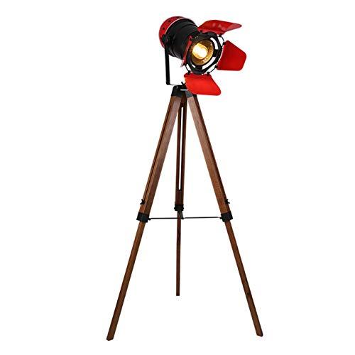 XIAN-jing Moderno Industrial Vintage Luminaria Foco Trípode de Madera Lámpara de Mesa Art Edison Deco Pantalla de Metal Negro para Cafe Bar Studio Luz de Noche (Color : Rojo)