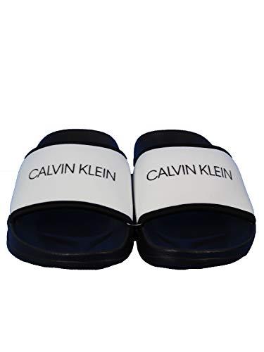 Calvin Klein Ciabatte Mare Uomo in Gomma e Tessuto Bianco 41/42