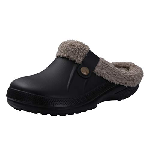 Classic Fur Lined Clog Waterproof Winter House Slippers for Women, Black and Khaki Women Size 8.5-9