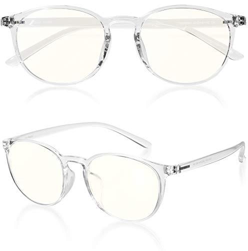 ROTAKUMA ブルーライトカット メガネ PC眼鏡 パソコン用 JIS規格40% UVカット99.9% 超軽量14g ボストン型 おしゃれ 紫外線カット メンズ レディース ユニセックス 度なし 伊達めがね (クリア)