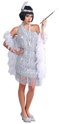 Fancy Me Damen Sexy Silber 1920's Flapper Charleston Gatsby Tv Buch Film Kostüm Kleid Outfit - Silbern, Large
