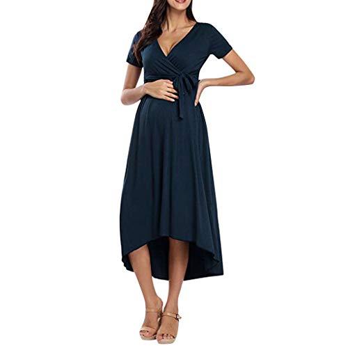 Vrouwen met capuchon Zwangere vrouwen Onregelmatige Hem korte mouw V-hals Bandage Dress Block Pull-up (Color : Navy Blue, Size : M)