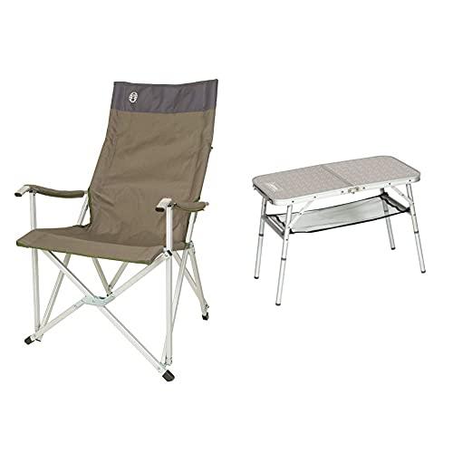 Coleman Faltstuhl Sling Chair mit Aluminiumgestell Zum Relaxen, Campingstuhl mit Armlehnen und hoher Rückenlehne, bis Max. 113 kg & 204395 Campingtisch Mini Camp Table, 80 x 40 x 31,5/55 cm