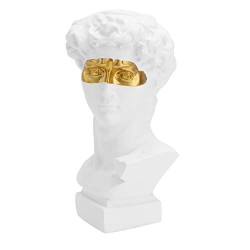 DOITOOL Maceta de Resina David Cabeza Escultura Maceta Cabeza Griego Maceta de Flores Cara Estatua Figurita Ornamento Contenedor