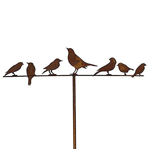 Gartenstecker Vögel 118cm Metall Rost Gartendeko Edelrost Groß