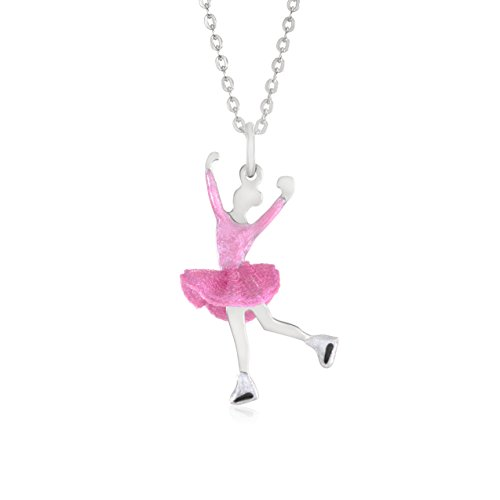 """UNICORNJ Childrens Teens Sterling Silver 925 Figure Skater Layback Spin Pendant Necklace Dark Pink Tulle Skirt and Light Pink Enamel 16"""" Italy"""