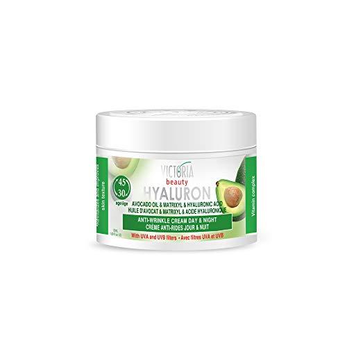 Victoria Beauty - Anti Aging Hyaluron Creme gegen Falten und Augenringe, straffende Gesichtscreme mit Avocadoöl, Matrixyl und Hyaluronsäure für Frauen und Männer ab 30 (1 x 50 ml)
