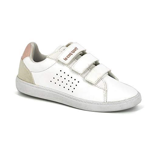 Le Coq Sportif Jungen COURTSTAR PS Shiny Optical White/Cloud p Sneaker, Blaros, 34 EU