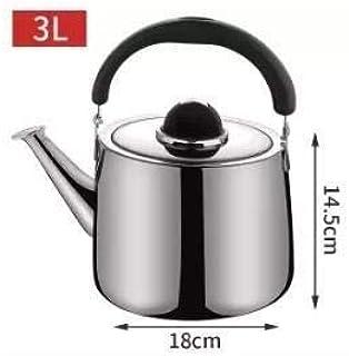 Silver 5L plata Hervidor de agua Espesar hogar silbato hervidor de acero inoxidable Hervidor de agua Cocina de inducci/ón Universal 4L