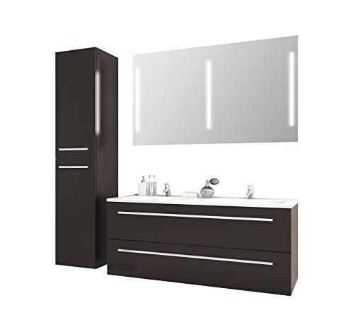 Jokey Badmöbel-Set Libato - 120 cm breit - Anthrazit Hochglanz - Badezimmermöbel Doppel-Waschtisch mit Unterschrank Spiegel mit Beleuchtung und Hochschrank Sieper