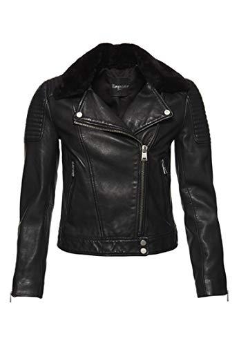 Superdry Damen Winter Bikerjacke aus hochwertigem Leder Schwarz 34