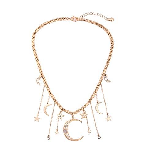 Collares y colgantes Accesorios únicos de collar de cadena de color dorado para mujer