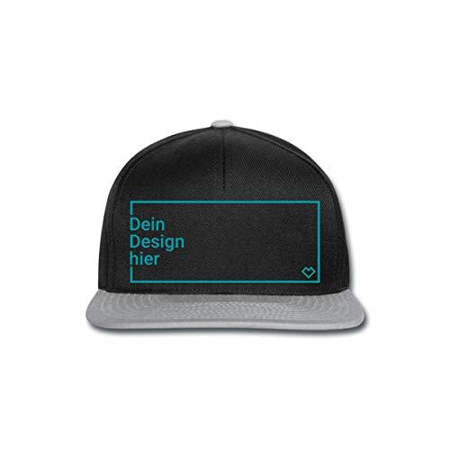 Spreadshirt Personalisierbare Cap Selbst Gestalten mit Foto und Text Wunschmotiv Snapback Cap, Schwarz/Grau
