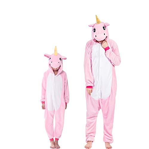 DEBAIJIA Adulto Unisex Pijamas Animal Ropa de Dormir Novedad Pijama para Niños Rosa de Dibujos Animados de Franela - 135