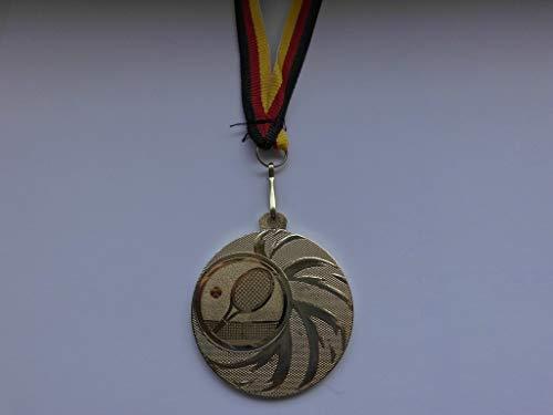 Fanshop Lünen 20 x Medaillen - aus Stahl 45mm - mit Einem Emblem, Tennis - Tennissport - inkl. Medaillen-Band - Farbe: Gold - mit Alu Emblem 25mm - (e108) -