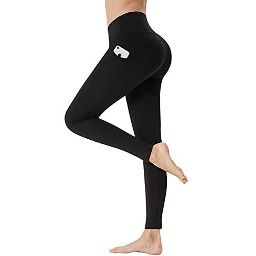 LANBAOSI Pantalones de yoga para mujer, de talle alto, color negro, para entrenamiento, control de barriga, longitud completa, con bolsillos - negro - Large