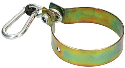KOTARBAU® Schaukelhaken 120 mm mit Karabinerhaken Schaukelschelle Schaukelbefestigung Rundholz Manschettenhaken Gelb Verzinkt Hakenhalterung Haken Schaukel