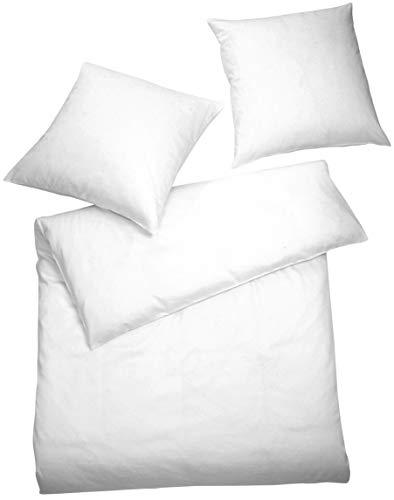 Carpe Sonno Elegante Interlock Jersey-Bettwäsche 135 x 200 cm einfarbig weiße Ganzjahresbettwäsche...