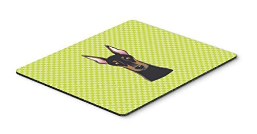 Caroline's Treasures BB1307MP Checkerboard Lime Green Doberman Mouse Pad, Hot Pad or Trivet, Large, Multicolor