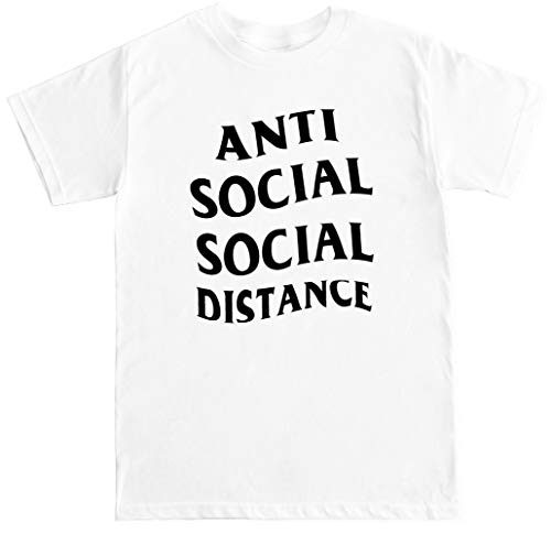 FTD Apparel Men's Anti Social Social Distance T Shirt - Small White