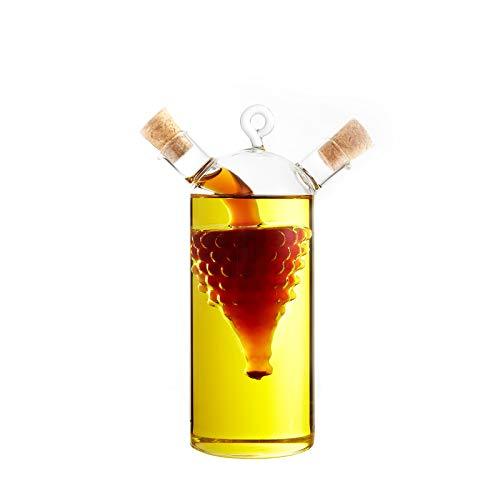 FGC Aceitera vinagrera de doble uso, ampolla de cristal decorativa 2 en 1 para aceite y vinagre, dispensador porta condimentos y licores con tapones de corcho (UVA 1)