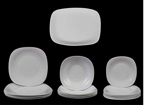 Fitting Gifts Bistro Collection Service de Table Parma Légèrement Carré, Blanc Brillant, avec 6X Assiettes Plates, 6X Assiettes Creuses, 6X Assiettes à Dessert et 1x Plat de Service (19 Pièces)