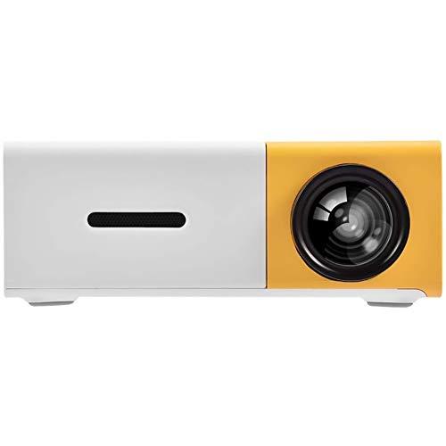 PUSOKEI Mini proiettore 2021 Videoproiettore Portatile aggiornato, proiettore multimediale per Home Theater, Compatibile con Full HD 1080P per HDMI USB AV(UE + Giallo e Bianco)