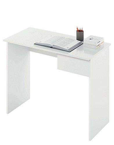 Abitti Escritorio Mesa de Ordenador Multimedia Color Blanco con cajón para Oficina, despacho o Estudio. 90cm Ancho x 75cm Altura x 50cm Fondo