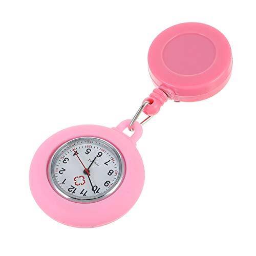 iplusmile Collar de Cuello Redondo con Solapa Colgada con Clip Reloj de Cuarto Reloj Colgante para Señoras Jóvenes Rosa