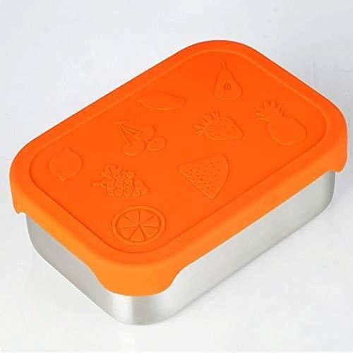 Caijie Prank Boxes 800ml in Acciaio Inox Ciotola Fresco Pranzo Snack di immagazzinaggio Contenitore con Coperchio in Silicone di Tenuta Pieghevole della Copertura di Student Lunch Box
