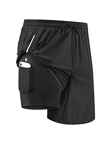 BALEAF Men's 5' 2-in-1 Running Workout Shorts with Zipper Pockets for Gym Basketball Black Medium