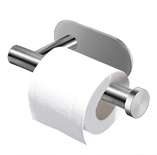 Fodlon Toilet Roll Holder, 3M Self Adhesive Drilling Paper Holder Stainless Steel Brushed for Kitchen and Bathroom Stick on Wall