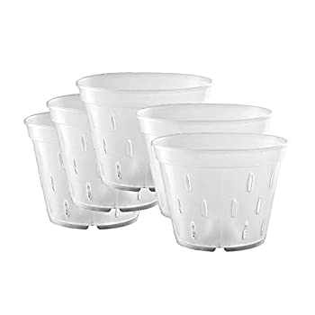 Orchid Pots with Holes Clear Orchid Pots Plastic Planter Clear Flower Pot Indoor 5.5 inch 5 Pack