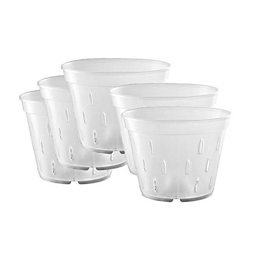 Orchid Pots with Holes, Clear Orchid Pots Plastic Planter Clear Flower Pot Indoor 5.5 inch 5 Pack
