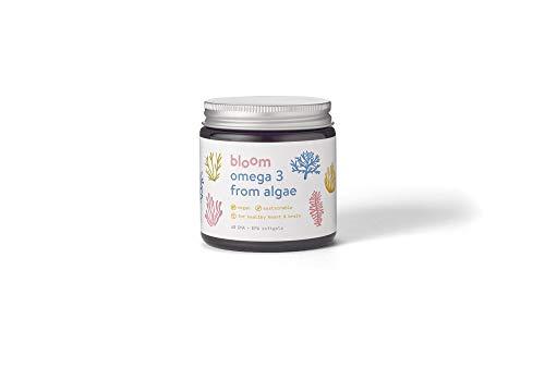 Bloom Omega 3 - DHA EPA - Vegan & Vegetarian - Algae Sustainable - No Plastic - 500mg Softgel - Non-GMO - No Mercury/PCBs - for Brain & Heart - UK Brand
