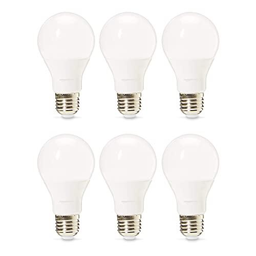 Amazon Basics Professional - Bombilla de tipo Edison LED, casquillo E27, equivalente a 75W, blanco cálido, regulable - juego de 6