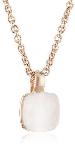 Esprit Damen-Halskette 925 Sterling Silber mit 18 Karat Rotgoldplattierung milchweißer Zirkonia 420 mm mit 30 mm Verlängerungskettchen - ESNL92833C420