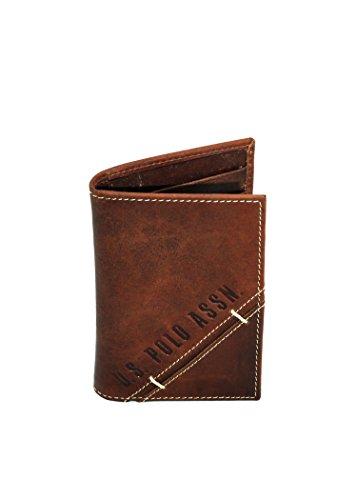 U.S. Polo Assn. Tarjetero de Piel Efecto Vintage Marrón Size: Marrone