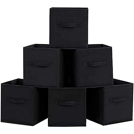 Homelife Assortiment de 6paniers de rangement pliables en forme de cube pour le linge, la literie, les jouets et autres Noir