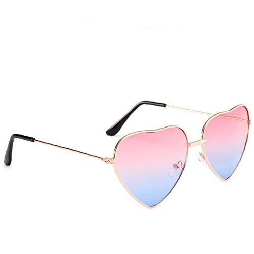 Marco en forma de gafas de sol de las gafas de sol del corazón del metal fino transparente del color del caramelo Gafas Gafas de fantasía elegante regalo para las mujeres niñas (Gradiente rosa)