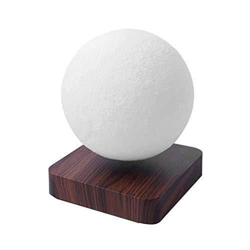 Lámpara de luna levitante, luz nocturna, con base de madera de imitación de lujo y lámpara de mesa con luz de luna LED de impresión 3D, interruptor táctil, para regalos únicos, decoración/A /