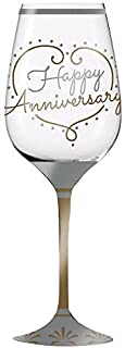 Cypress 3CWG505 Happy Anniversary Hand-Painted Wine Glass, Silver
