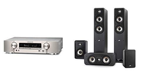 Marantz NR1710 kompakter 7.2-Kanal AV-Receiver (WiFi, Bluetooth, HDCP2.2, 4k, HEOS, AirPlay 2, Alexa kompatibel) Silber-Gold + Polk Audio Signature E Series Lautsprecher Set 2 für Heimkino und Musik